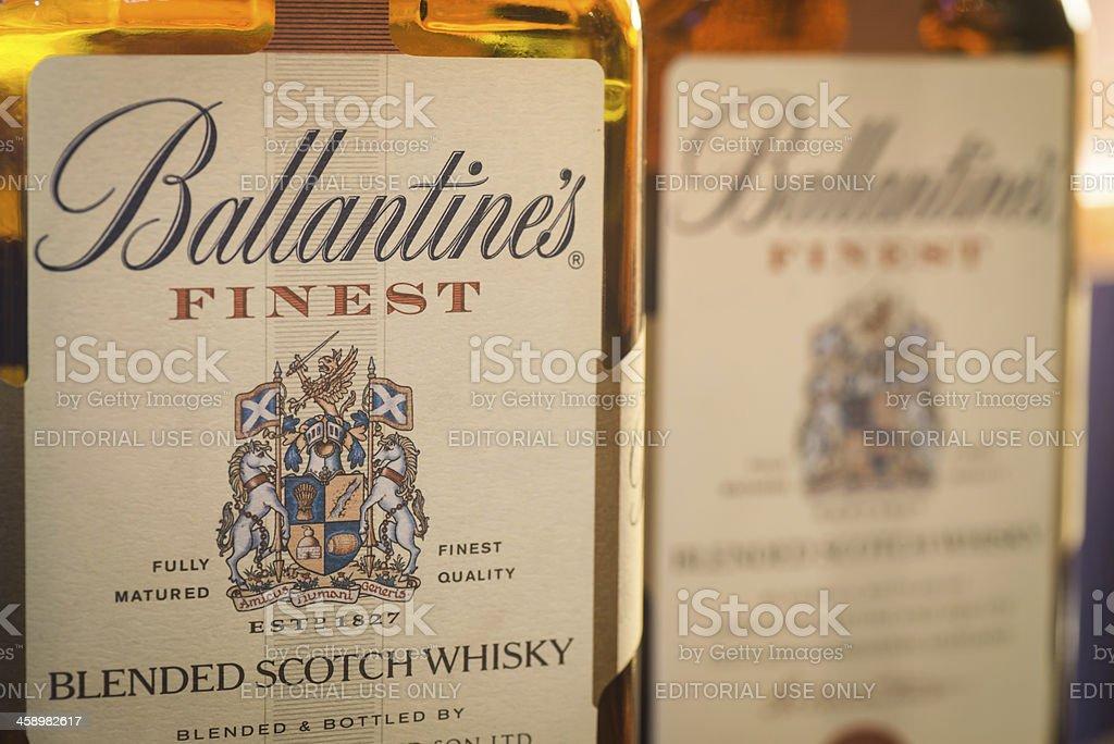 Label of Ballantine's Scoth Whisky Bottles stock photo