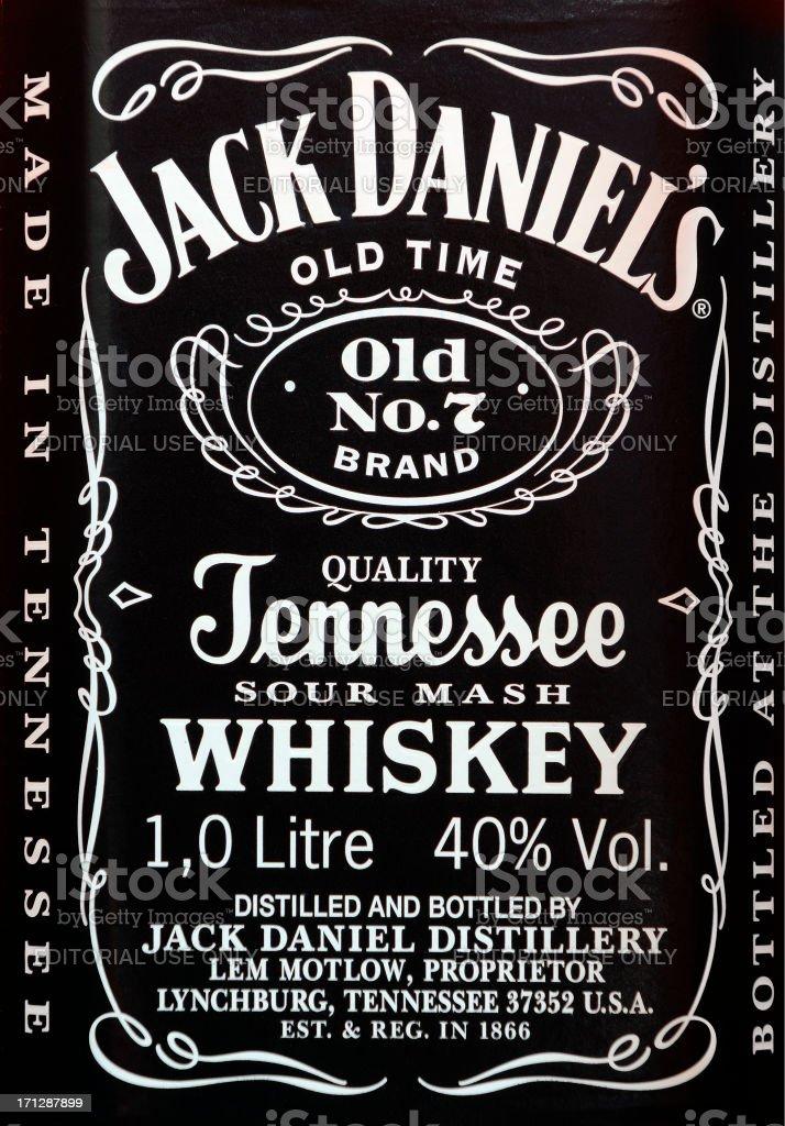 Etiqueta de Jack Daniel's whisky - foto de stock