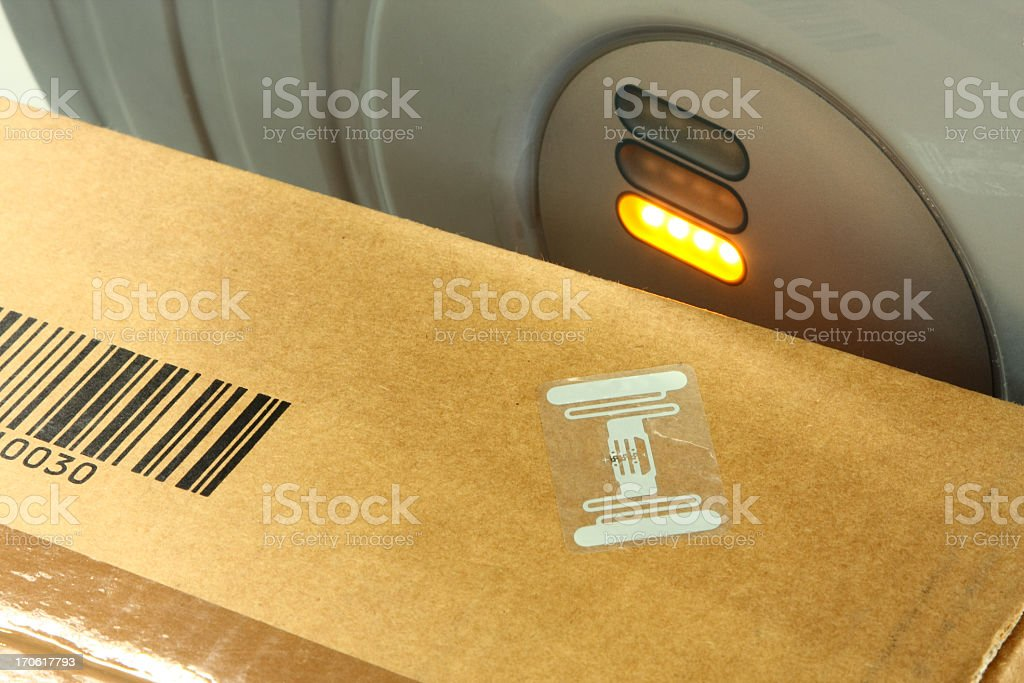 RFID label on box royalty-free stock photo