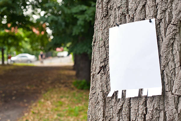 label on tree - lost stock photos and pictures