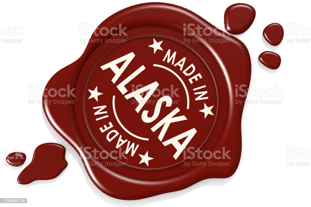 Sello de la etiqueta de hecho en Alaska - foto de stock