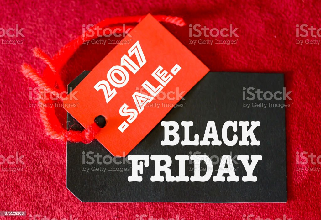 Label shopping tags for online shopping of Black Friday sale concept. stock photo