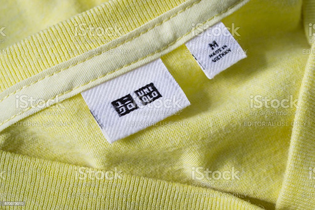 Label tag on Uniqlo shirt stock photo