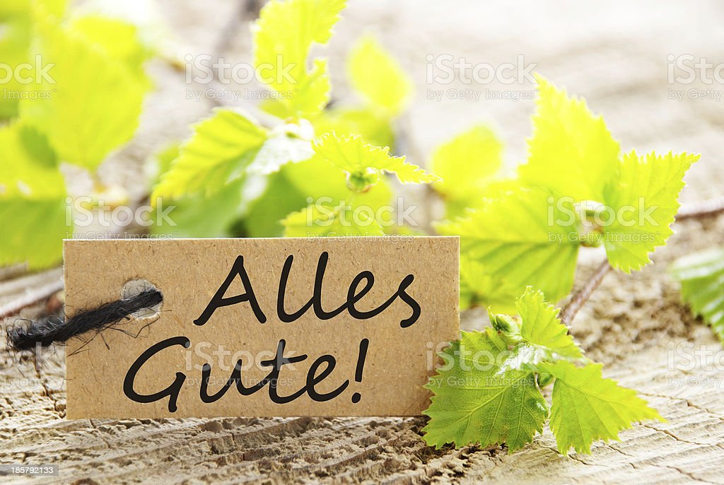 label with Alles Gute! royalty-free stock photo