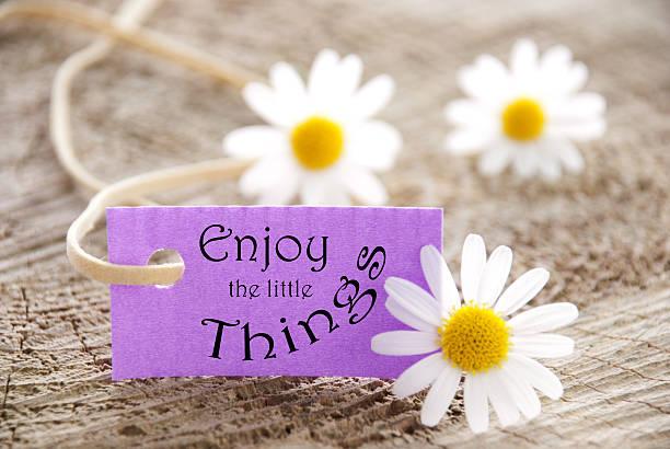 label mit genießen sie den kleinen dinge - intelligente zitate stock-fotos und bilder