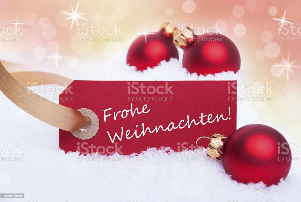 Label with Frohe Weihnachten royalty-free stock photo