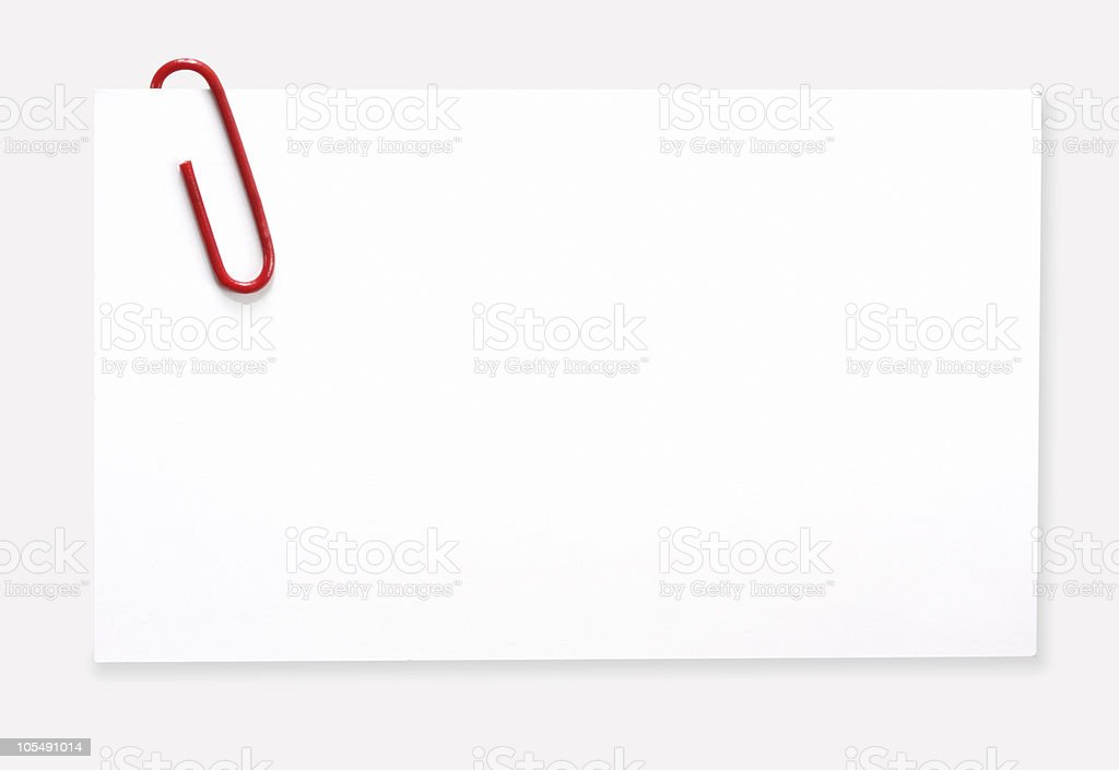 Label with Red Paperclip stock photo