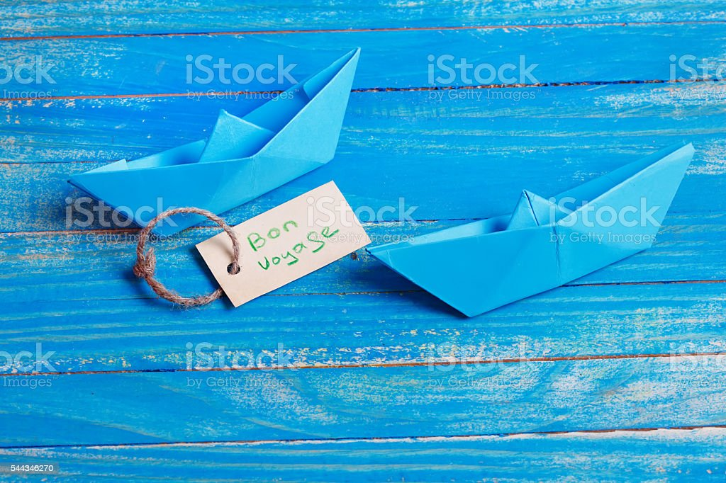 Label with the Words Bon Voyage which means goog trip stock photo