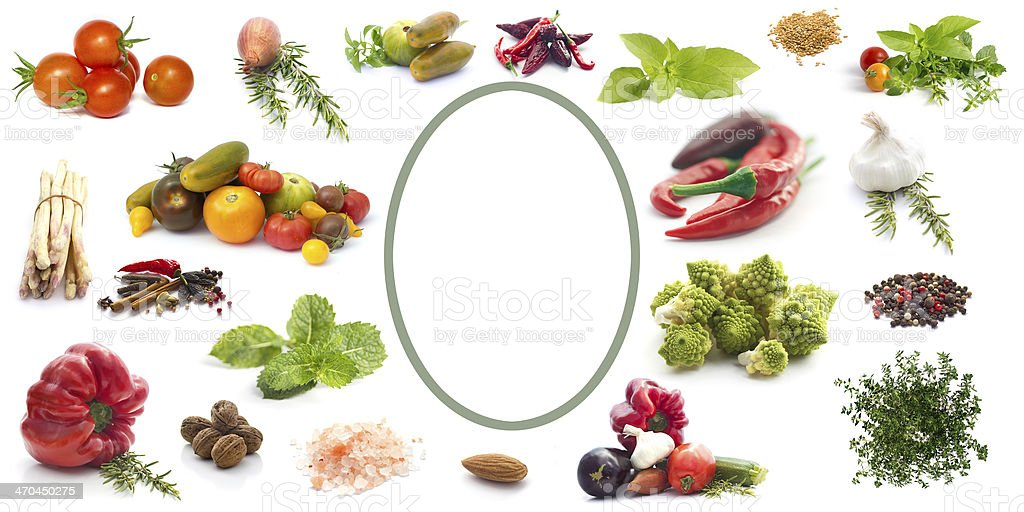Label with  vegetables, herbs and spices stock photo