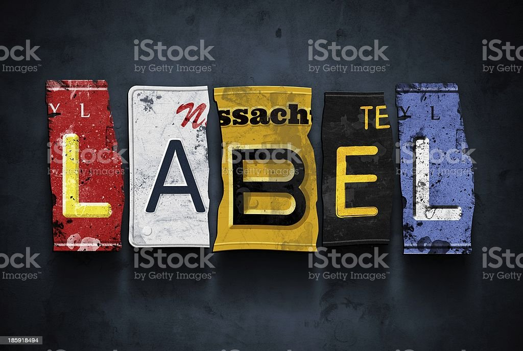 Label word on vintage car license plates, concept sign royalty-free stock photo