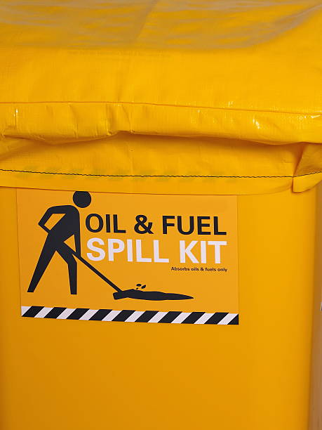 Labeled bright yellow industrial emergency spill kit Labeled bright yellow industrial emergency spill kit, Australia 2015 spilling stock pictures, royalty-free photos & images