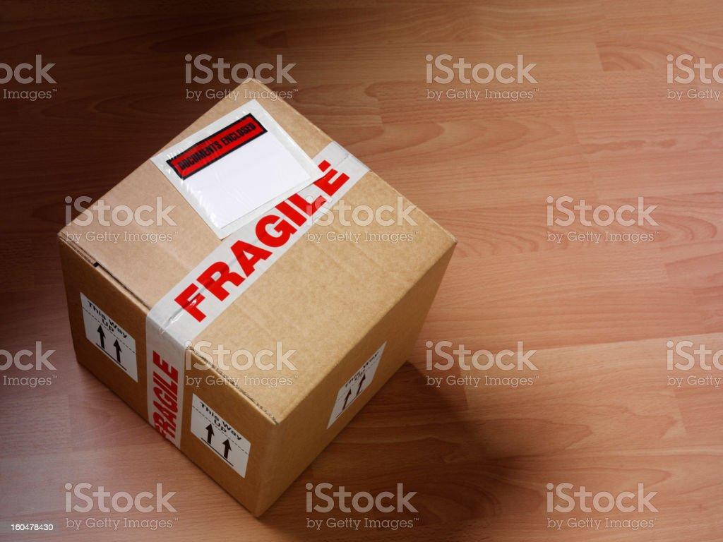 Labeled Cardboard Box royalty-free stock photo