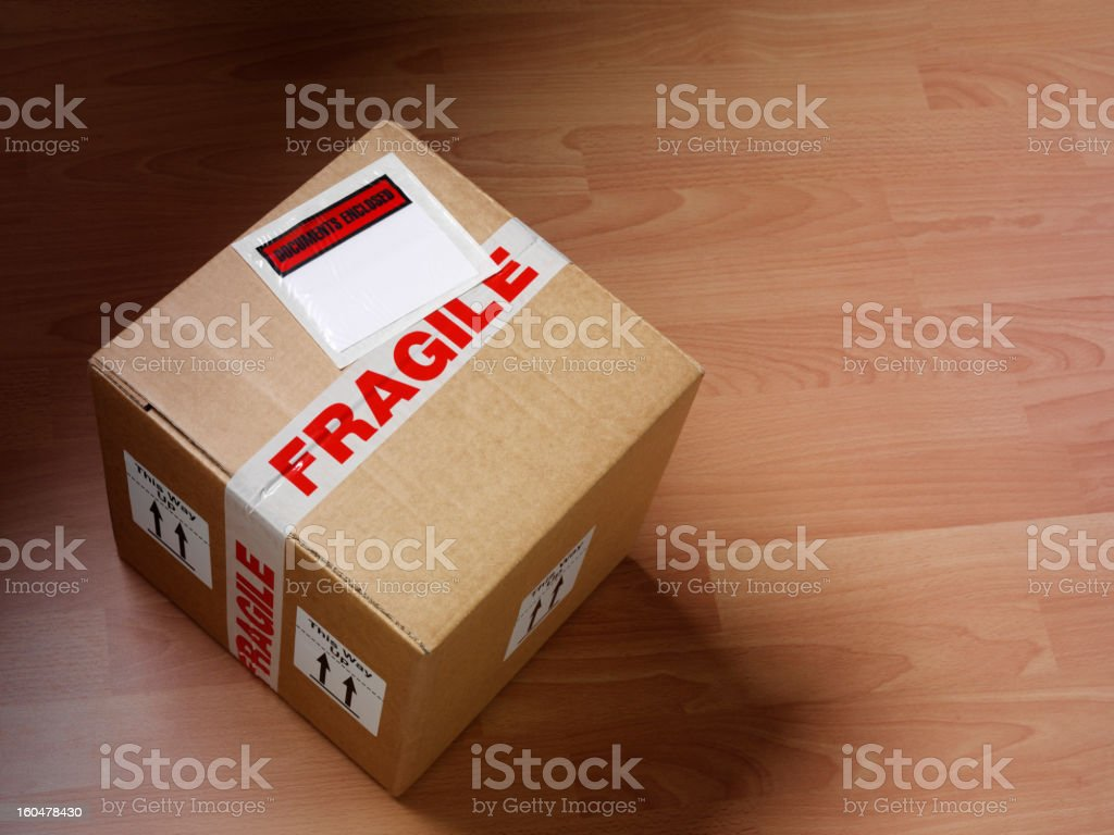 Labeled Cardboard Box stock photo