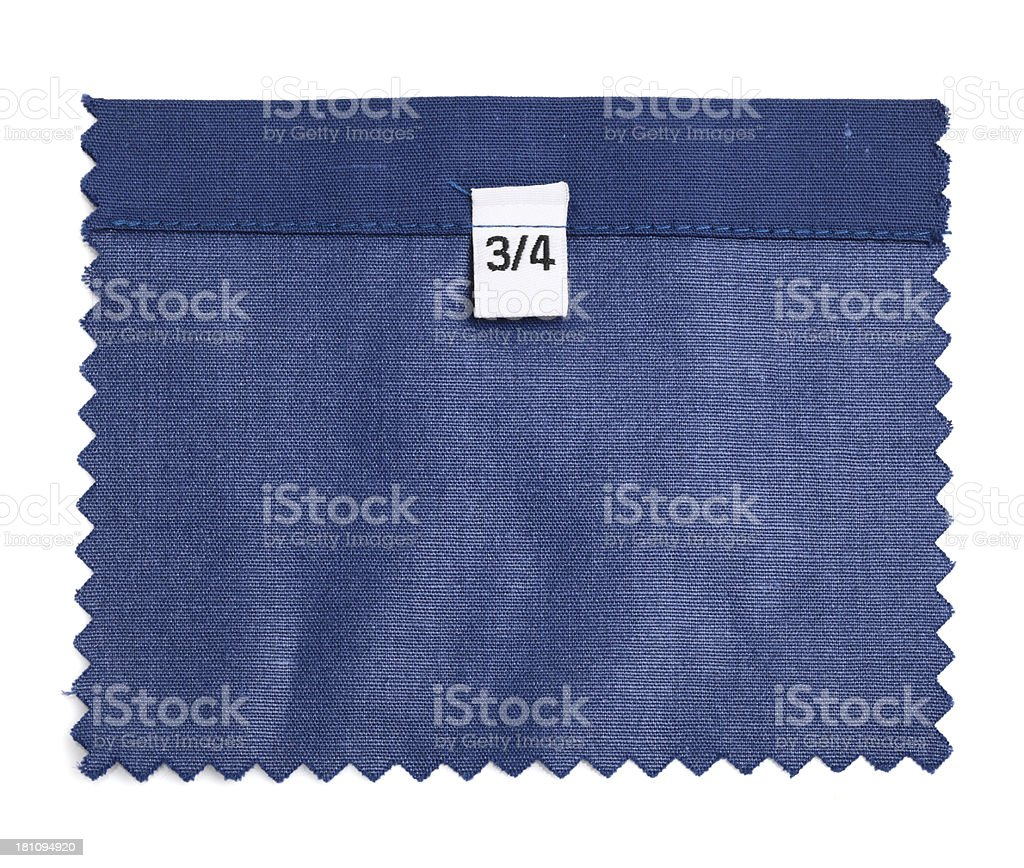 3/4 Labeled Green Fabric Swatch royalty-free stock photo