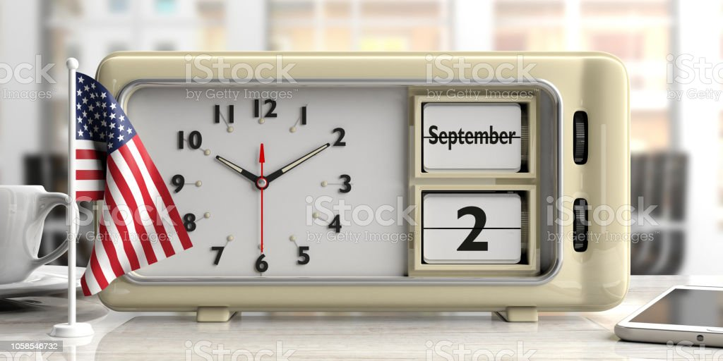 Labor Day 2019 On Old Retro Alarm Clock American Flag Office