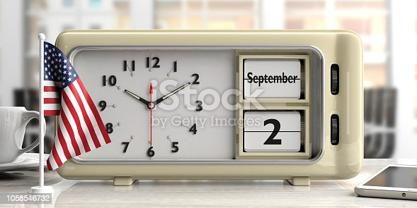 istock Labor Day 2019 on old retro alarm clock, American flag, office background, 3d illustration. 1058546732