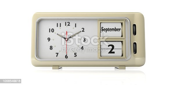 istock Labor Day 2019 on old retro alarm clock, white background, isolated, 3d illustration. 1058546618