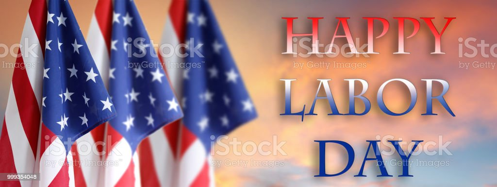Labor day American flags stock photo