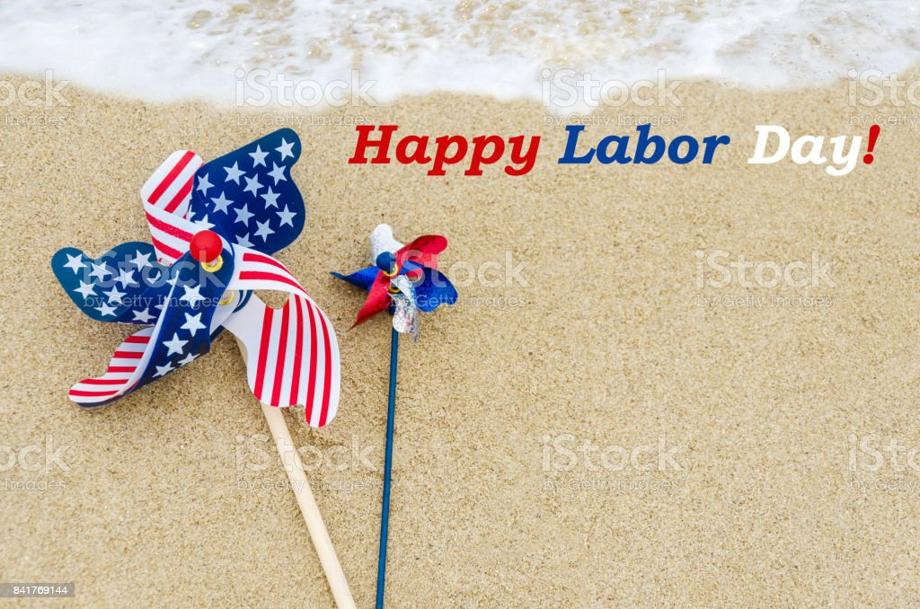 Labor day background on the beach stock photo