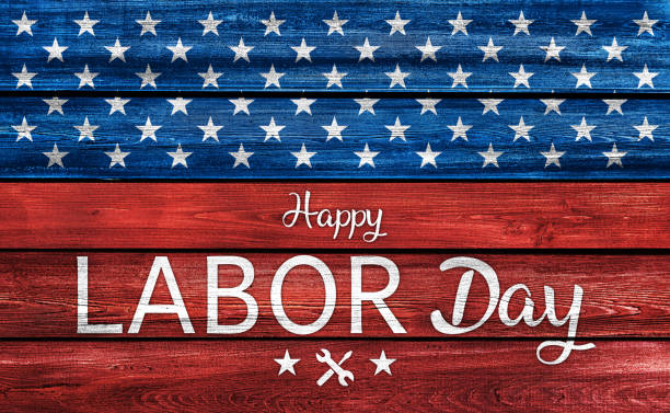 USA Labor Day background on wood USA Labor Day celebrative texts and American flag elements on wood planks background. labor day stock pictures, royalty-free photos & images