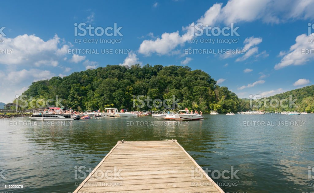 Labor day boating party on Cheat Lake Morgantown WV stock photo