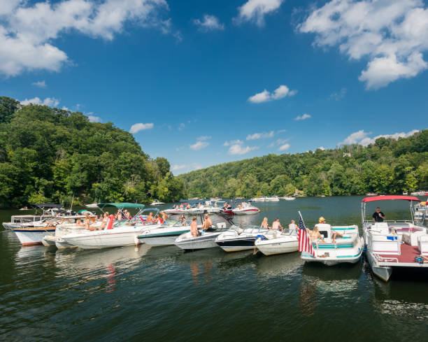 Labor day boating party on Cheat Lake Morgantown WV - fotografia de stock