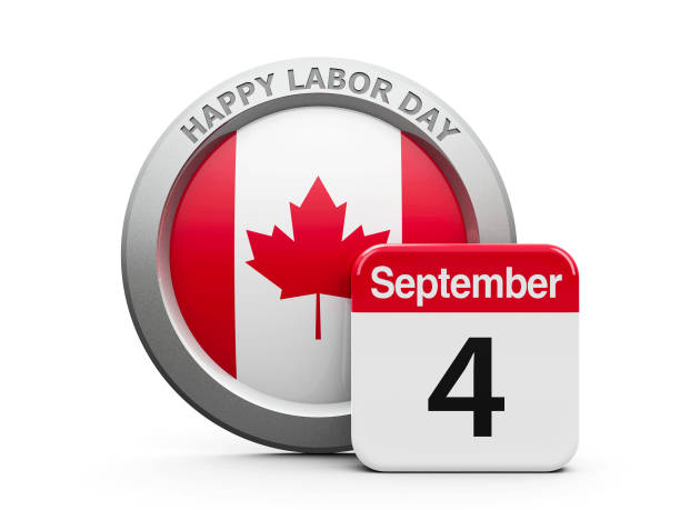 Labor Day Canada Emblem of Canada with calendar button - The Fourth of September - represents the Happy Labor Day 2017 in Canada, three-dimensional rendering, 3D illustration day 4 stock pictures, royalty-free photos & images