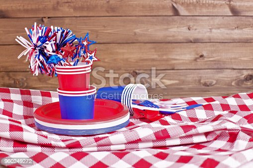 table top setting of red white and blue american culture celebration party