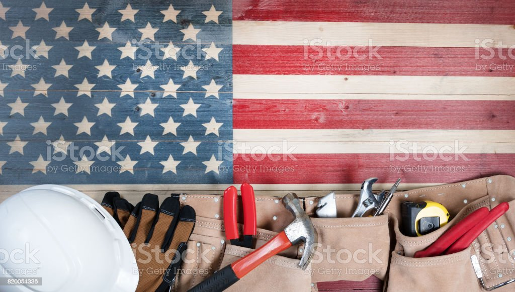 Labor Day holiday for United States of America with worker tools stock photo