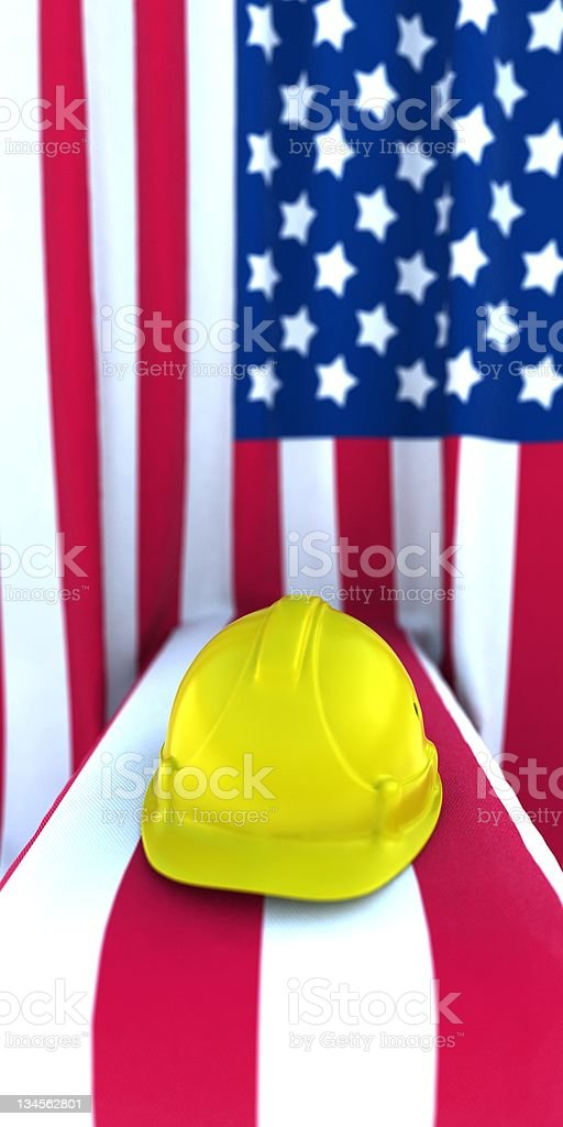 Construction Hard Hat against the American flag