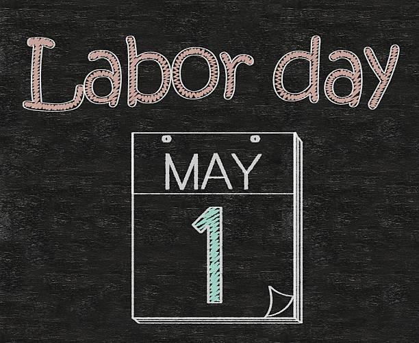la fête du travail avec casque de sécurité sur le tableau - 1er mai photos et images de collection