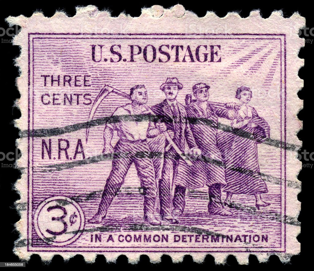 NRA Labor Economic Determination Postage Stamp stock photo