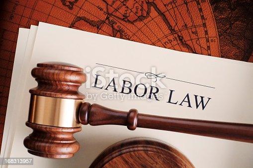 Gavel on labor law document