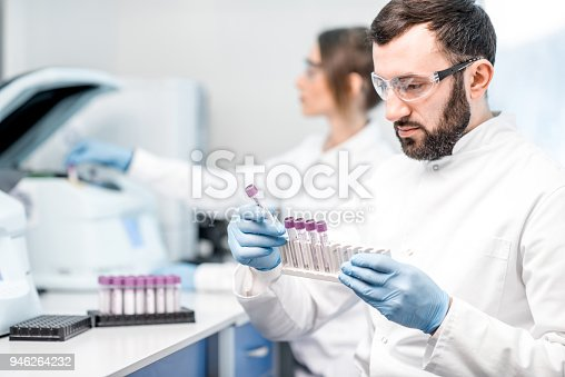 istock Laboratory assistant making analysis 946264232
