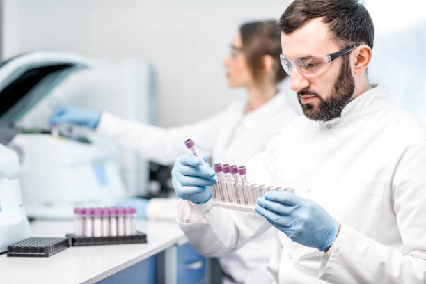 laboratory assistant making analysis - ematologia foto e immagini stock