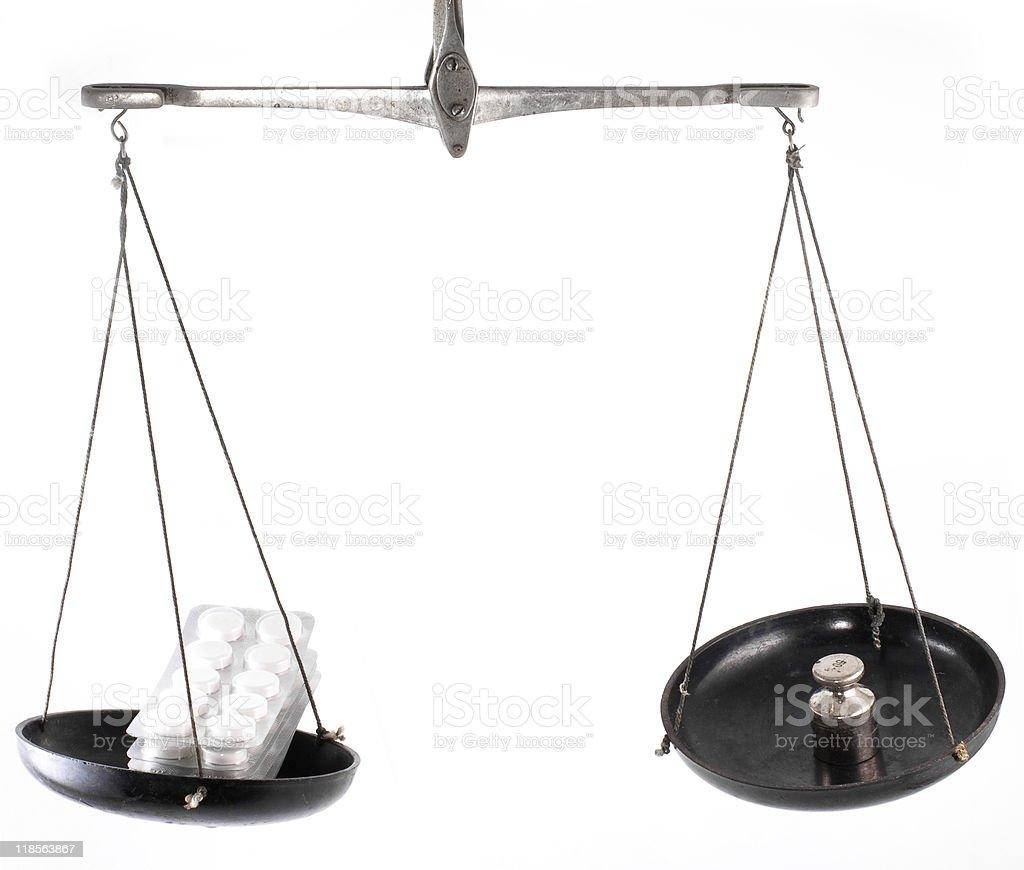 Laboratory balance with pill royalty-free stock photo