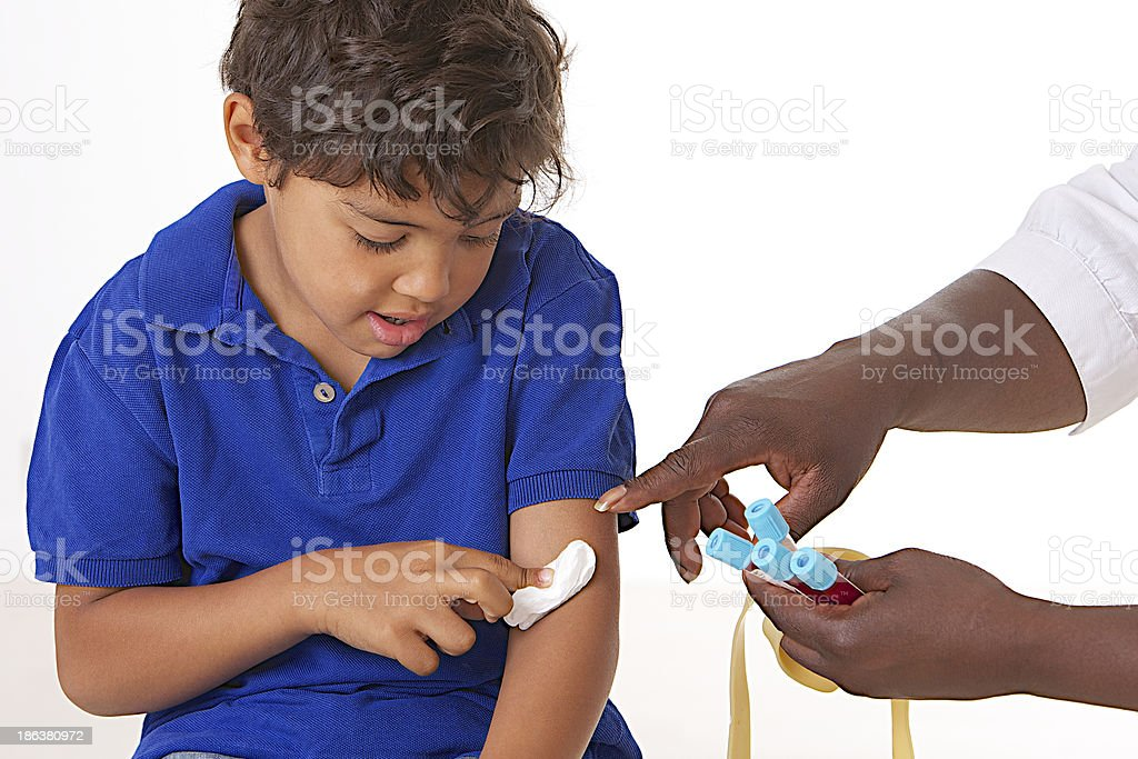 Laboratory blood sample on kids stock photo
