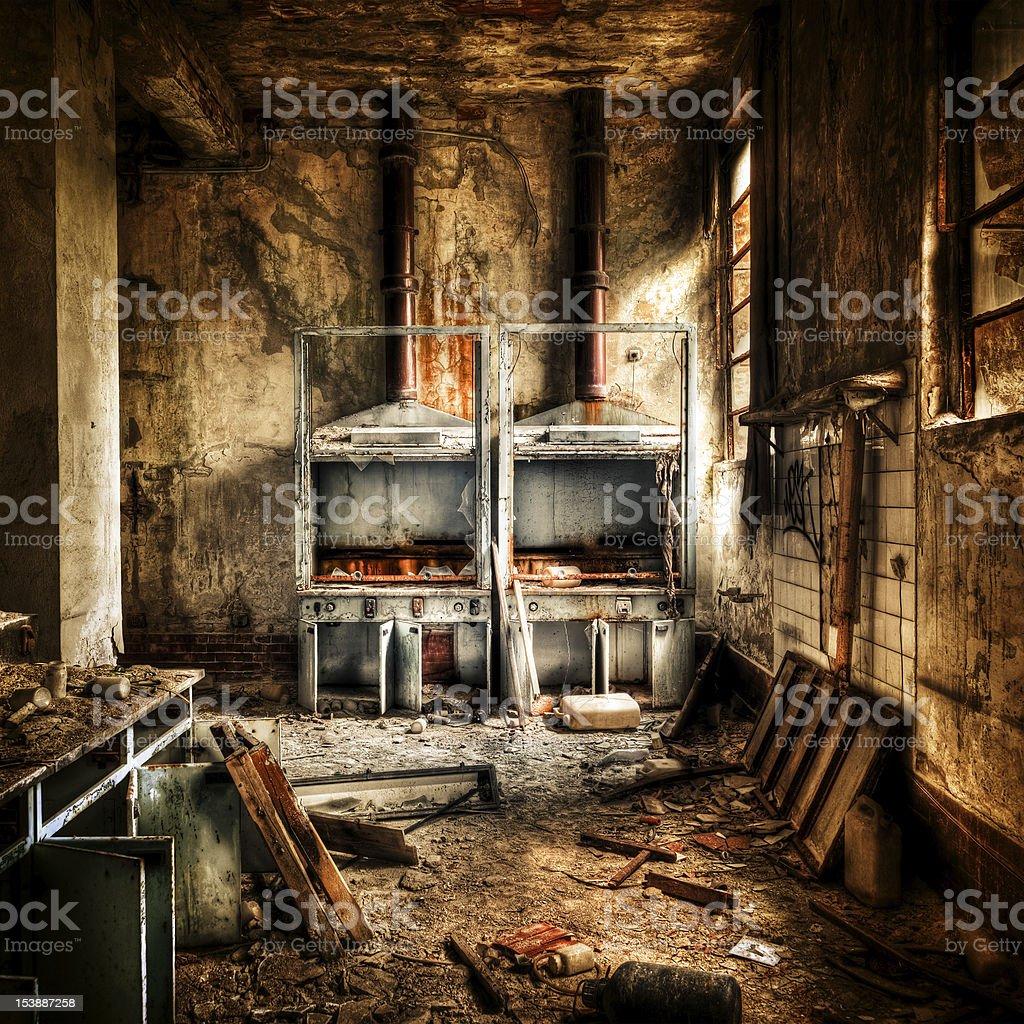Laboratory Burnt Ruined Interior, Destruction Abandoned Building stock photo