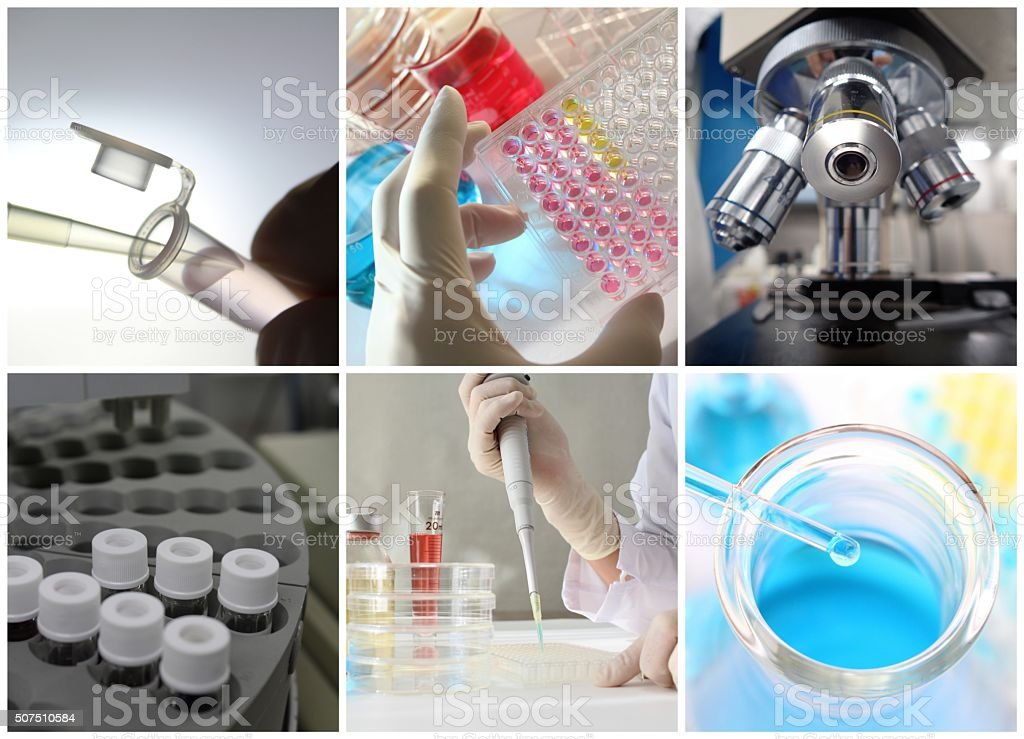 Laboratory glassware for science and chemistry experiments stock photo