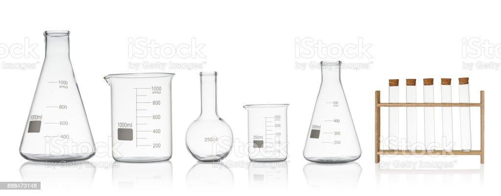 Laboratory glassware set isolated on white background royalty-free stock photo