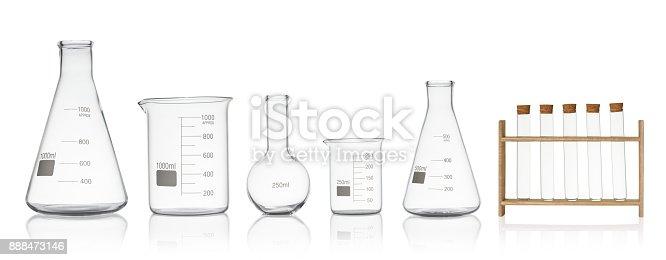 istock Laboratory glassware set isolated on white background 888473146