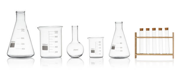 laboratory glassware set isolated on white background - flask stock photos and pictures