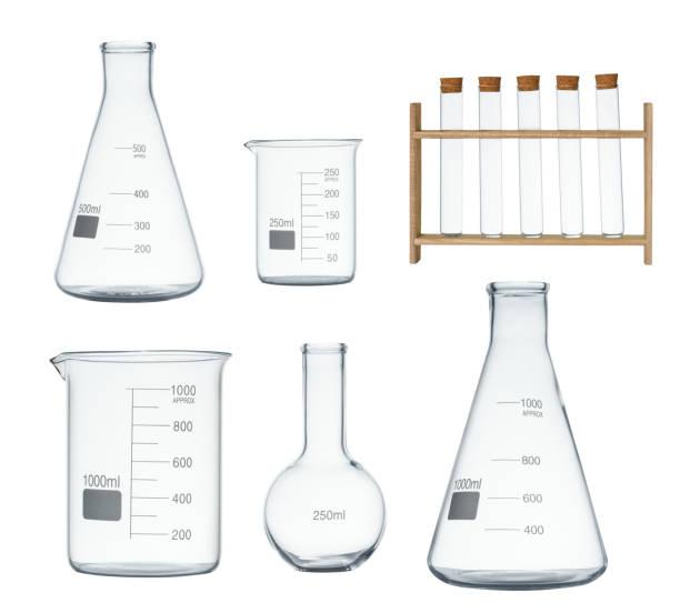 laboratory glassware set isolated on white background - becher foto e immagini stock