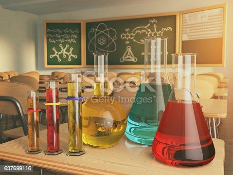 istock Laboratory glassware with formula on blackdesk in the school che 637699116