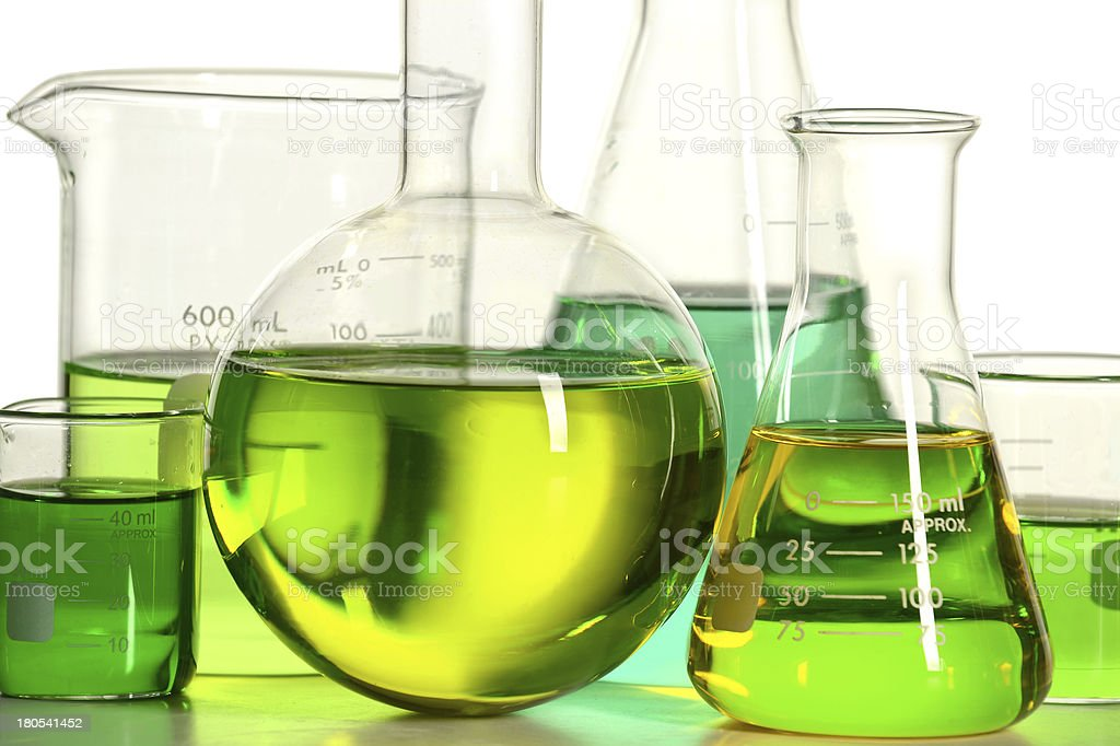 Laboratory Glassware With Green Liquid stock photo