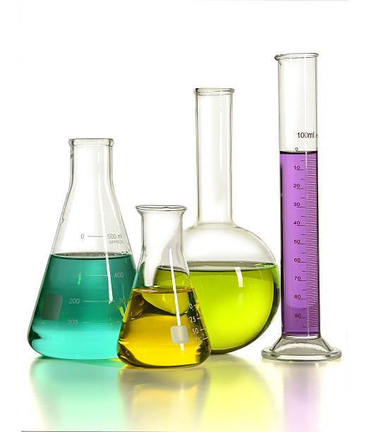Laboratory Glassware with Liquids stock photo