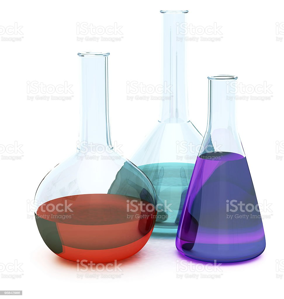 Laboratory glassware with liquids royalty-free stock photo