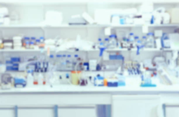 Laboratory interior out of focus, blurred image stock photo