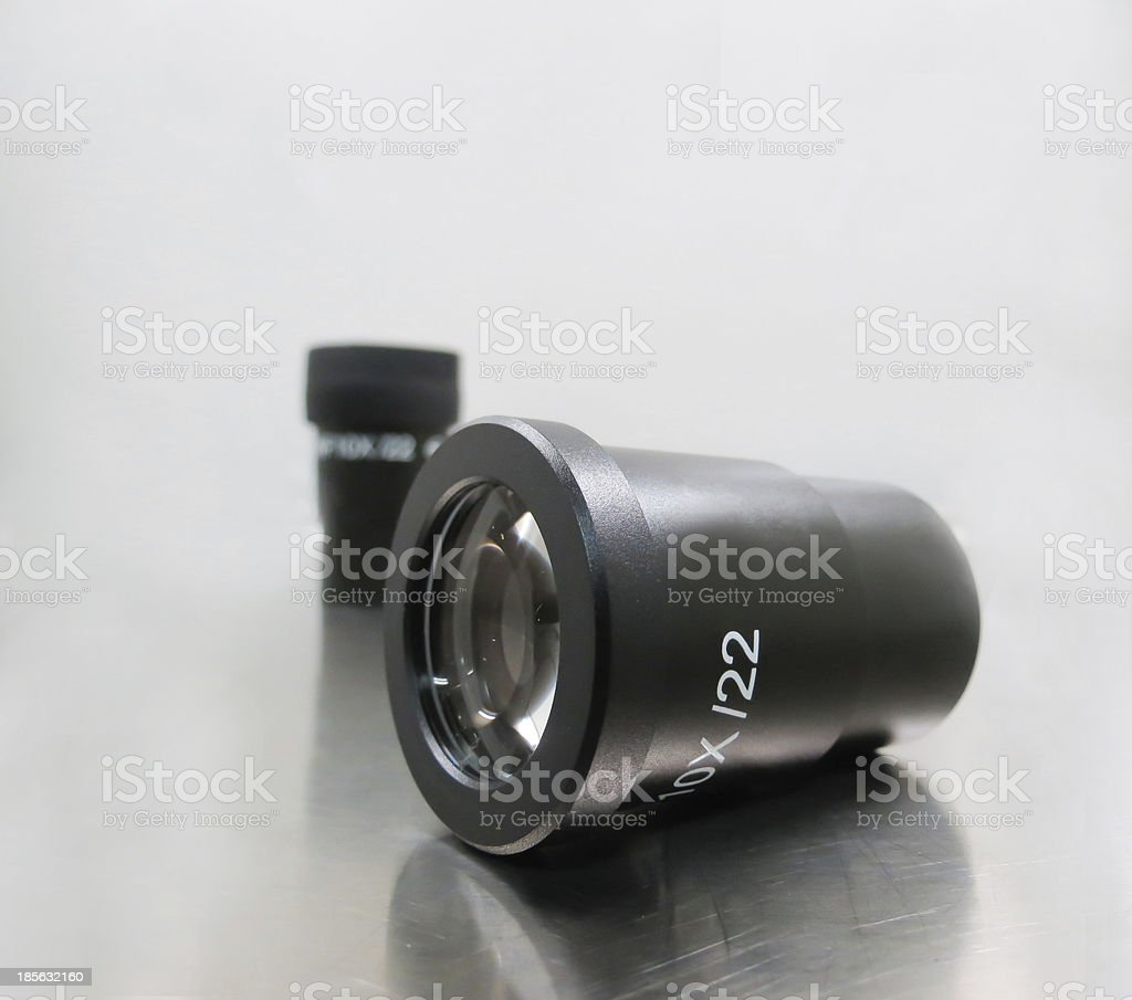 Laboratory microscope eyepiece, with different magnifications stock photo