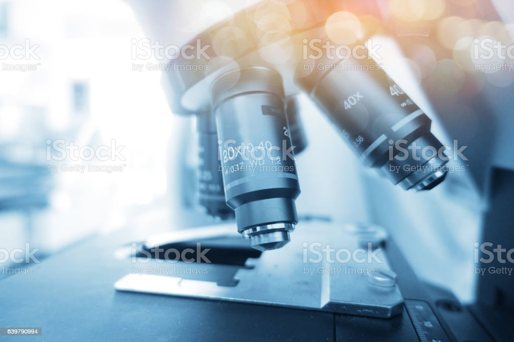 Laboratory Microscope. Scientific and healthcare research back - foto de stock